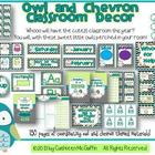 Owl and Chevron Themed Classroom Materials Set
