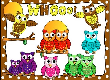 Owl clip art in fun funky colors and styles