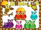 Owl clipart in fun funky colors and styles