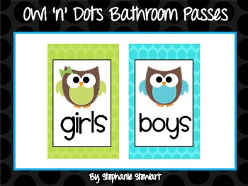 Owl 'n' Dots Bathroom Passes