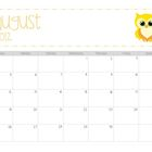 Owl themed blank monthly calendar