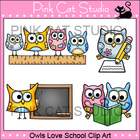 Owls Love School Clip Art - Personal & Commercial Use