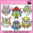 Owls With Jobs Clip Art Set 1 - Personal & Commercial Use