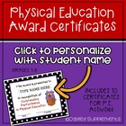 PE Award Certificates Personalize in Word