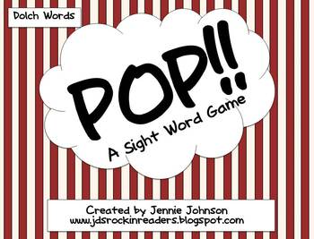 POP!  A sight word game Dolch Words