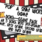 POP! Sight Word Game **GIANT PACK** ALL 5 DOLCH SIGHT WORD LISTS