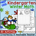 PREP LESS Kindergarten Winter Math {Over 25 Activities}