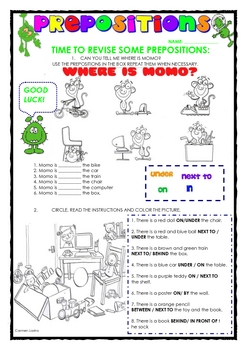 PREPOSITIONS FOR ESL