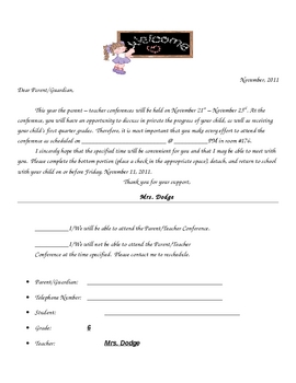PTC Parent Teacher Conference Confirmation Letter 2011