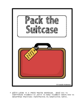 Pack the Suitcase:  Determining Importance FREEBIE!