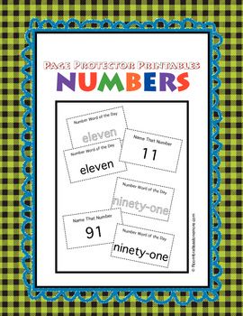 Page Protector Printables: NUMBER CARDS