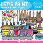 Paint Buckets and Brushes - Color +  Line Art Clipart