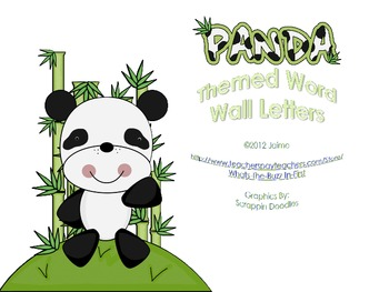 Panda Word Wall Letters or ABC Flash Cards