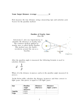 Parallax Lab (Astronomy Trigonometry Stars Physics)