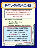 Paraphrasing Review - Supporting Common Core Research & Writing