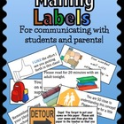 Parent Communication Labels for Student Planners