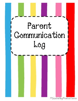 Parent Communication Log Binder Cover