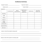 Parent Conference Summary Form
