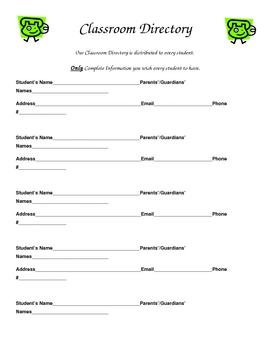 Parent Forms For Meet The Teacher