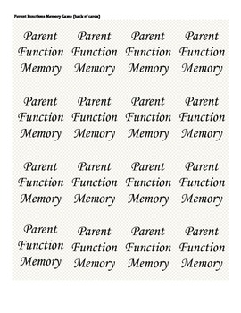 Parent Function Memory Game-