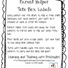 Parent Helper Tote Box Labels