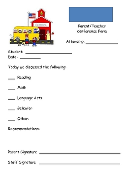 Parent Teacher Conference Form for Primary Students PDF