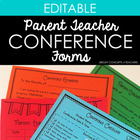 Parent-Teacher Conference Forms {EDITABLE}
