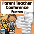 Parent Teacher Conference Forms and Notes for 1st Grade