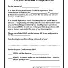 Parent Teacher Conference Letter (fill in the date &amp; time)