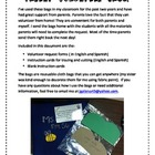 Parent Volunteer Bags in English and Spanish