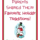 Parent Writing Homework - Holiday Traditions (Christmas, C
