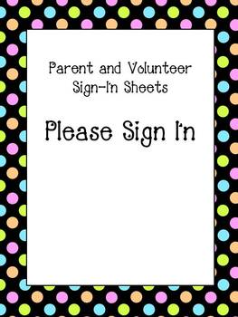 Parent and Volunteer Sign in Sheets for Binder