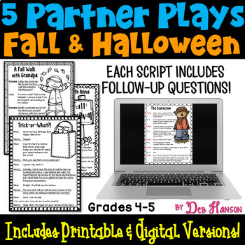 Partner Plays: Fall & Halloween -set of 5 scripts for 4th & 5th grade readers