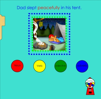 Parts of Speech Gumball Grammar Review Smartboard Lesson