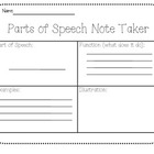Parts of Speech Note Taker~ L.3.1