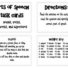 Parts of Speech (nouns, verbs, adjectives, adverbs)  Task Cards