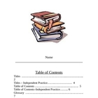 Parts of a Book Lessons - Table of Contents, Index, Glossa