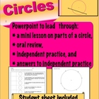Parts of a Circle Lesson - Powerpoint &amp; Student Sheet - Geometry