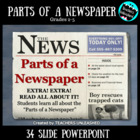 Parts of a Newspaper PowerPoint Lesson and Test Prep