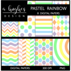Pastel Rainbow {12x12 Digital Papers for Commercial Use}