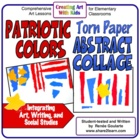 Patriotic Colors Torn Paper Collage