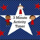 Patriotic Themed 3 Minute Activity Timer (USA, stars &amp; str