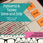 Patterns and Tables Solve and Snip- Common Core and TEKS