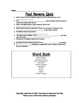 Paul Revere Fill-in-the-Blank Quiz