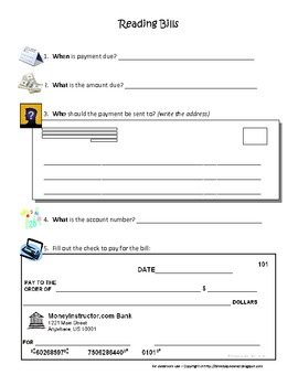 Paying Bills *SIMPLE* Worksheet