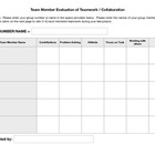 Peer Teamwork Evaluation PDF Fillable Form