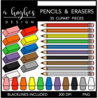 Pencils & Erasers 1 {Graphics for Commercial Use}