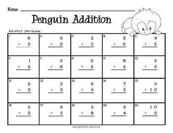 Penguin BUMP -- Addition & Subtraction Fact Fluency Games