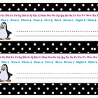 Penguin Black White Desk Name Plate with Alphabet and Numbers