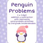 Penguin Problems: 2 and 3 digit addition and subtraction w